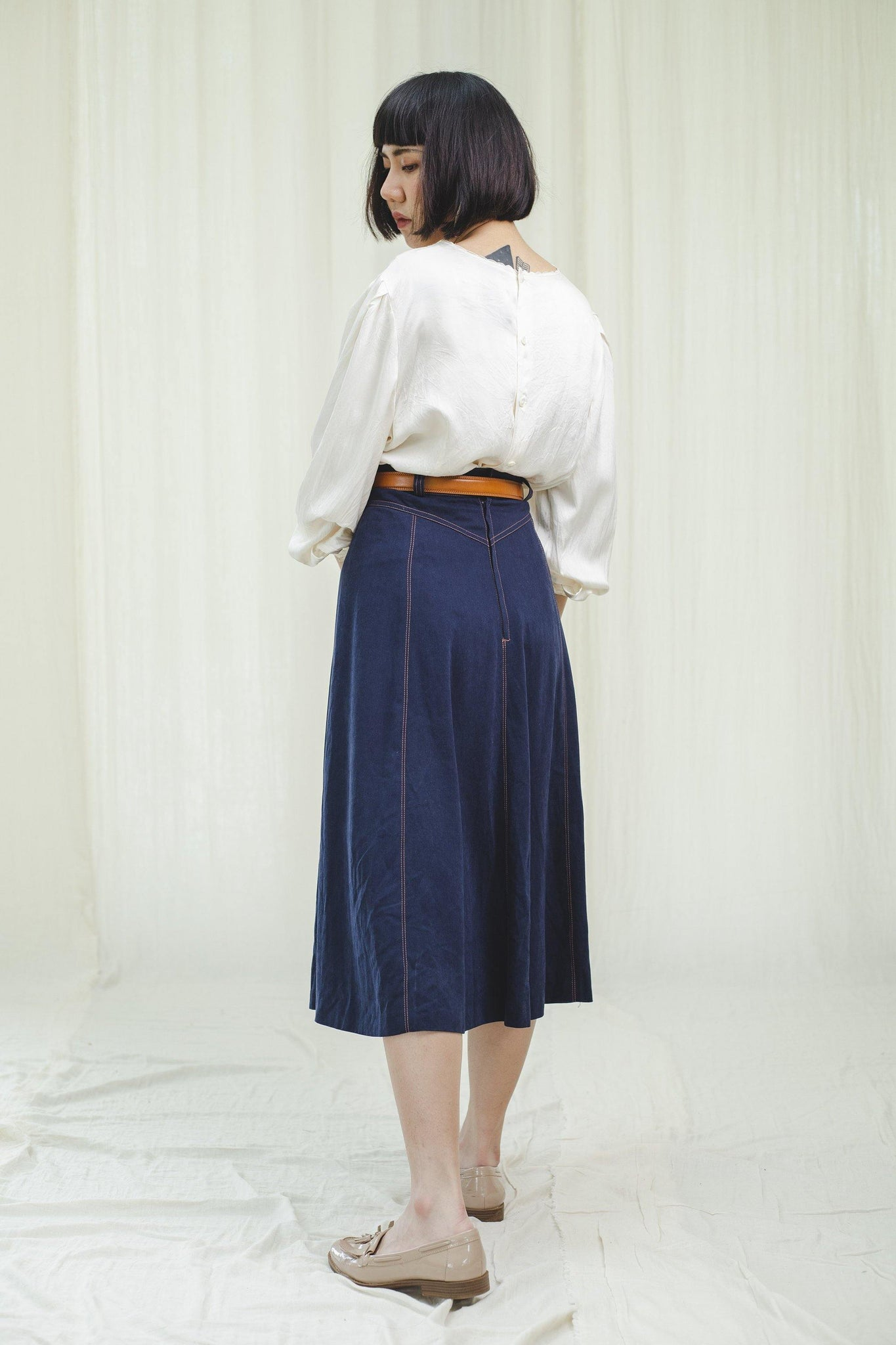 Dark blue denim 80's skirt