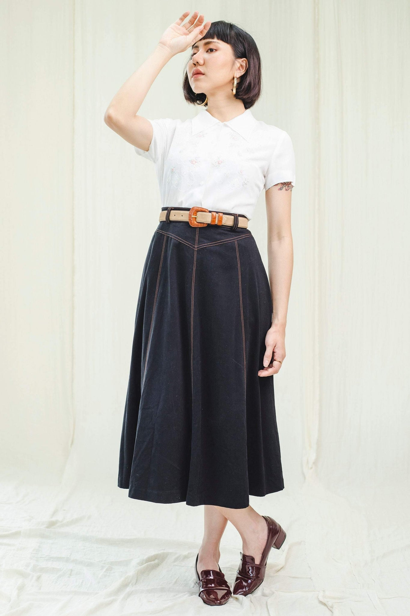 Dark denim vintage skirt