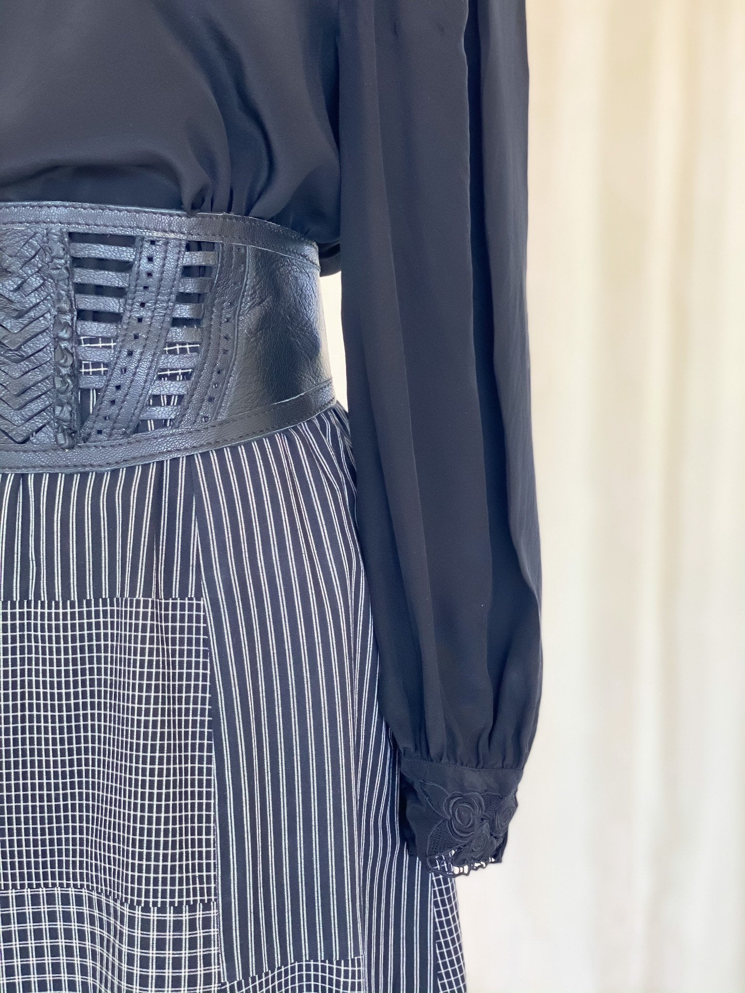 Vintage 80s plaid vintage midi skirt