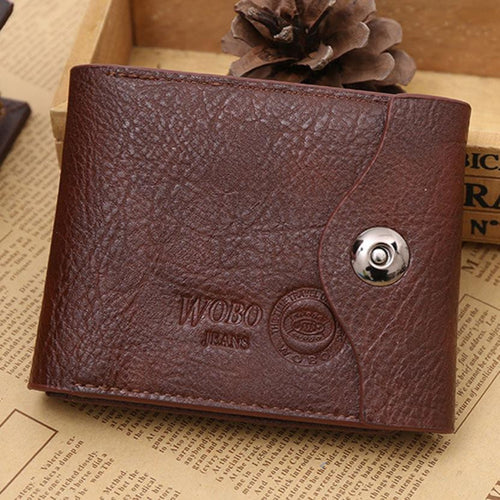 WOBO J Men Luxury Button Leather Wallet