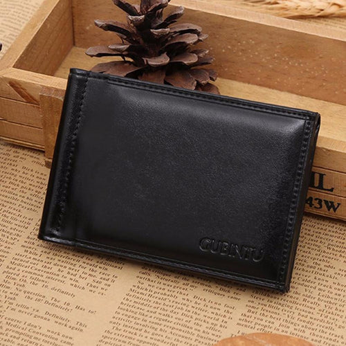 CUBINIU Men Short Leather Bifold Wallet