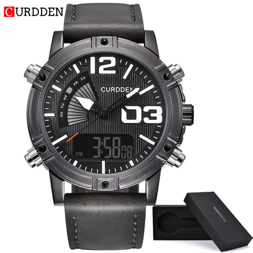 CURDDEN  Mens Fashion Leather Band Army Sport Wristwatch