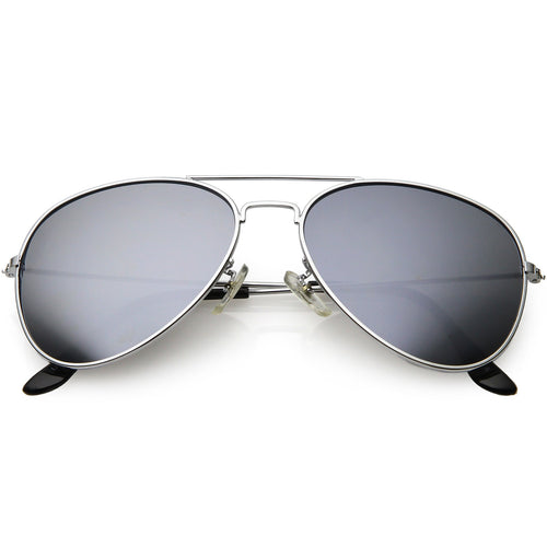 Classic Metal Silver Mirror Lens Aviator Sunglasses
