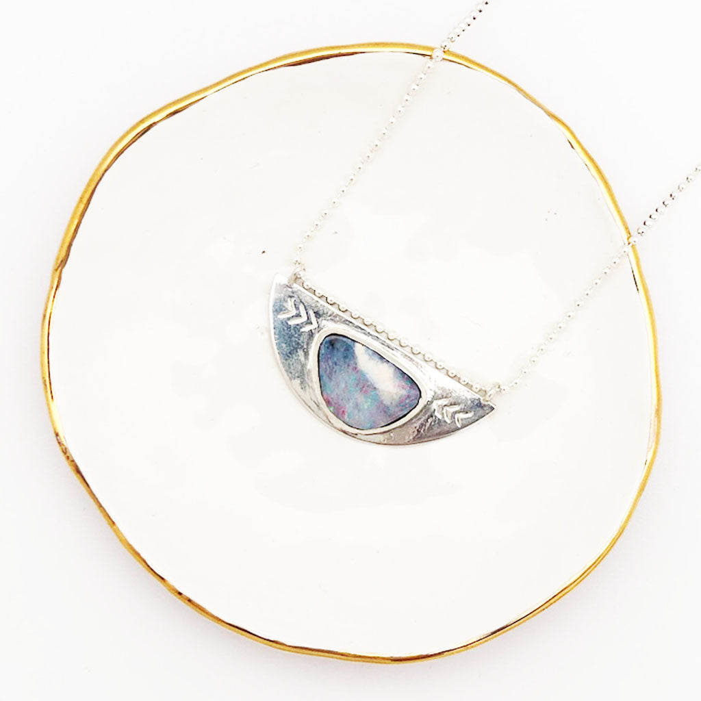 Queensland Boulder Opal Silver Necklace