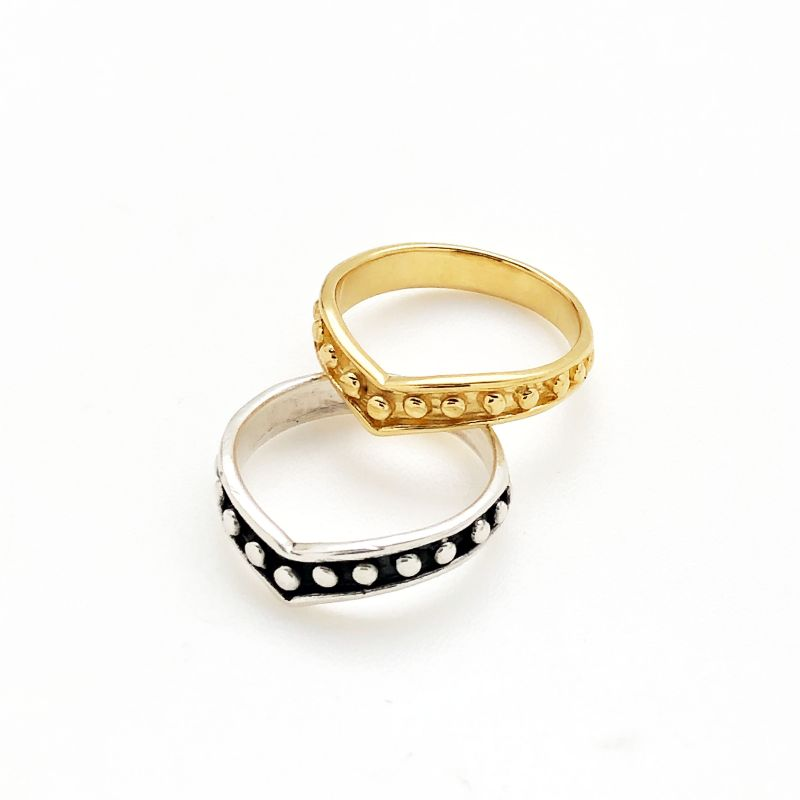 Beady Chevron Ring