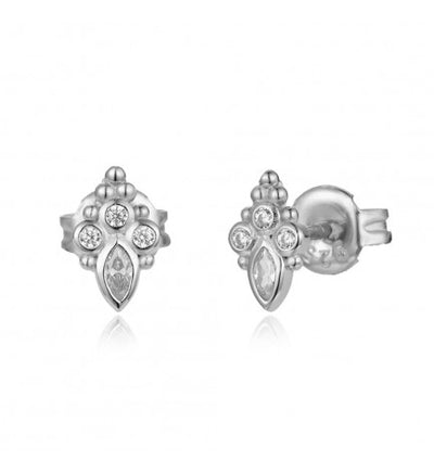 Lotus Teardrop Stud Earrings
