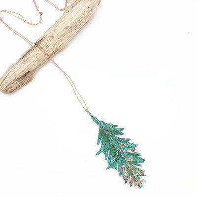 Red Wood Leaf Pendant