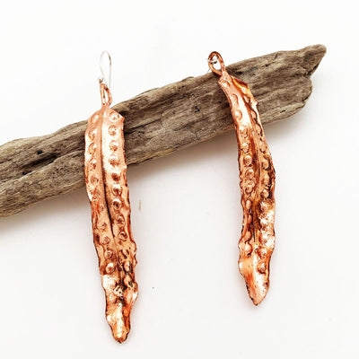 Fern leaf copper earrings