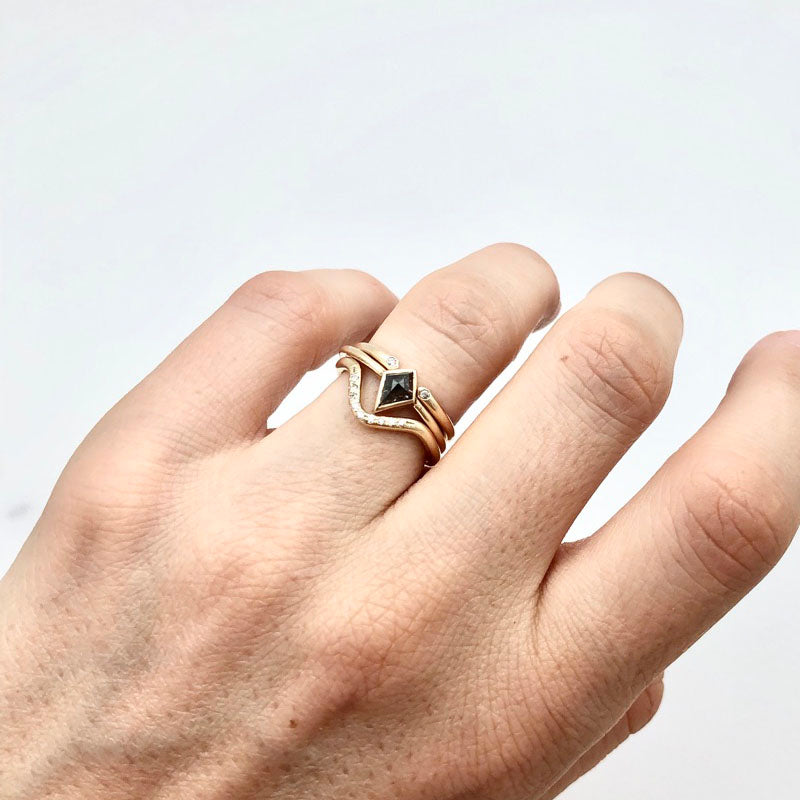Kite Salt and Pepper Diamond Ring set