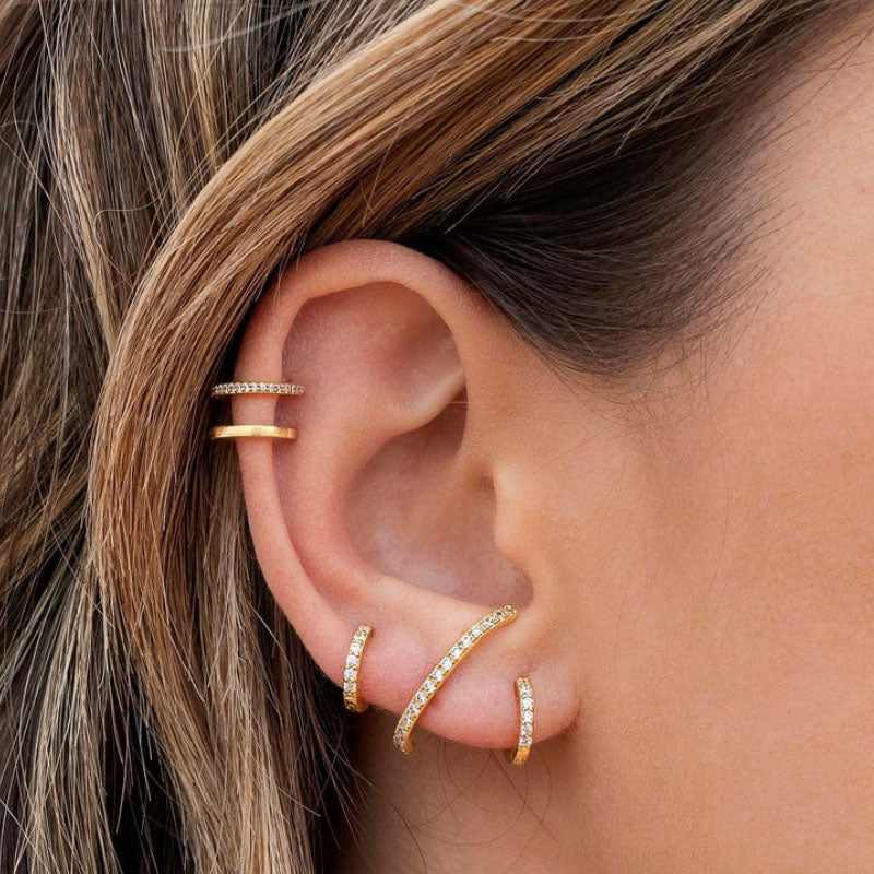 Double Gold Pave Hoop Earring
