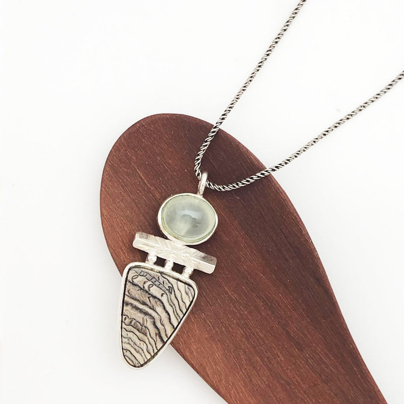 Hells Canyon Petrified Wood Prehnite Necklace