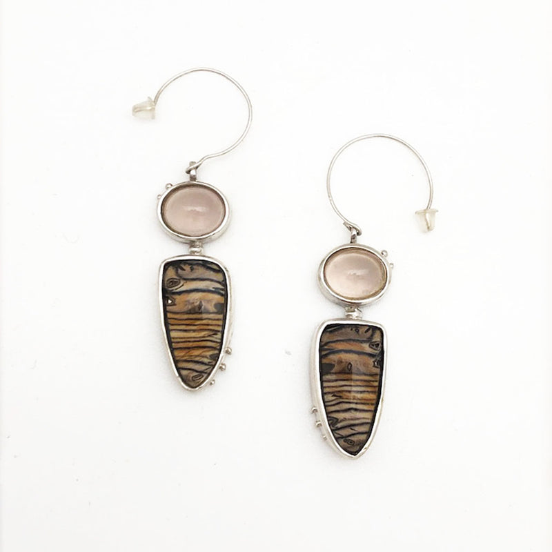 Hells Canyon Petrified Wood Rose Quartz Earrings
