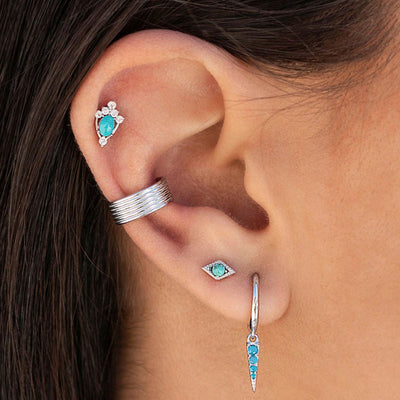 Turquoise Rombo Stud Earrings