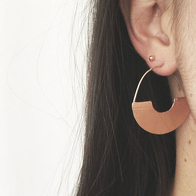Round Leaf Textured Earrings