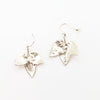 Silver bush leaf earrings