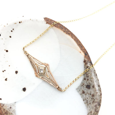 Vintage Victorian remake Gold Diamond Necklace