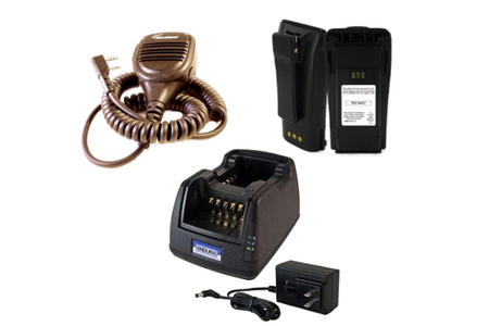 Two-Way Radio Charger, Battery, and Speaker Microphone