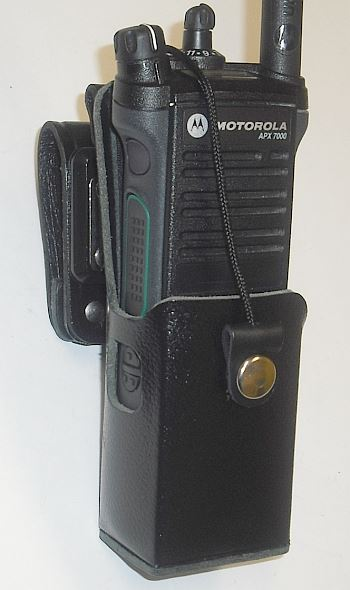 WV-2099B-150 Waveband Heavy Duty Leather Case With Swivel for Motorola APX7000 Slim (short) battery. - Waveband Communications