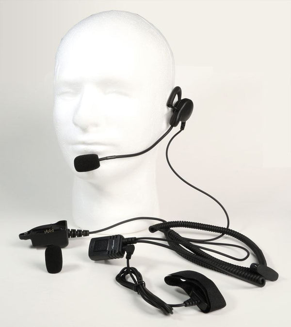 Mono Heavy duty Behind The Head Headset for Harris M/A Com XG-15 - Waveband Communications