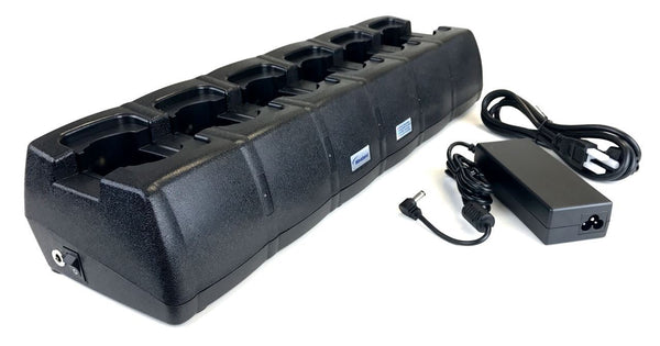 6 bay charger for Kenwood NX-5200 portable radio, and batteries