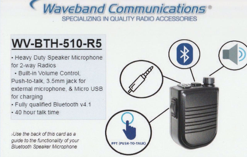 WV-BTH-510-R5 Wireless Bluetooth Speaker Microphone - Waveband Communications