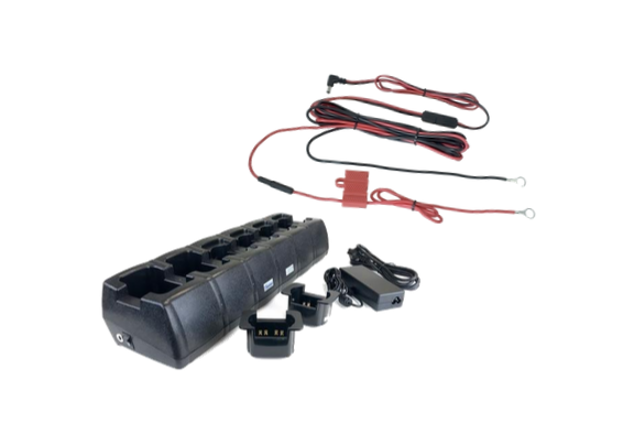 Relm KNG-P150 6 Bank Charger and Hard Wire Kit Bundle - Waveband Communications