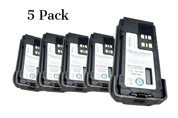 Pack of 5 two-way radio batteries