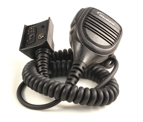 Rugged lapel mic with Dshape over the ear receive-only earpiece for Harris Ma/Com P7100 Series Portable Radios - Waveband Communications