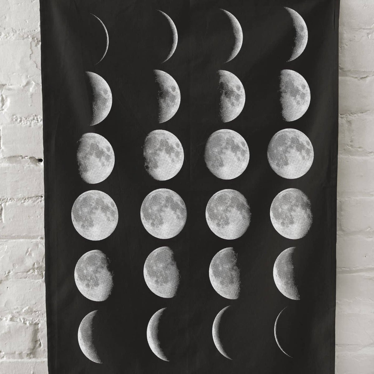 Moon Phases Kitchen Towel - Black