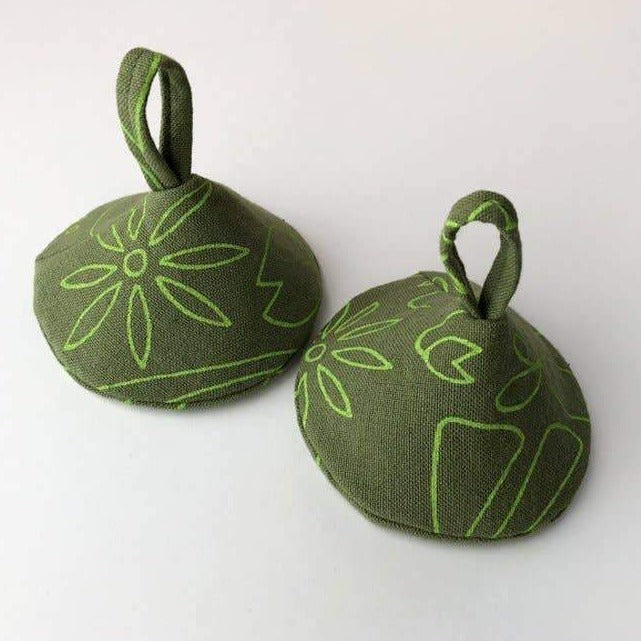 Green Flora Pot Holders - 2pcs