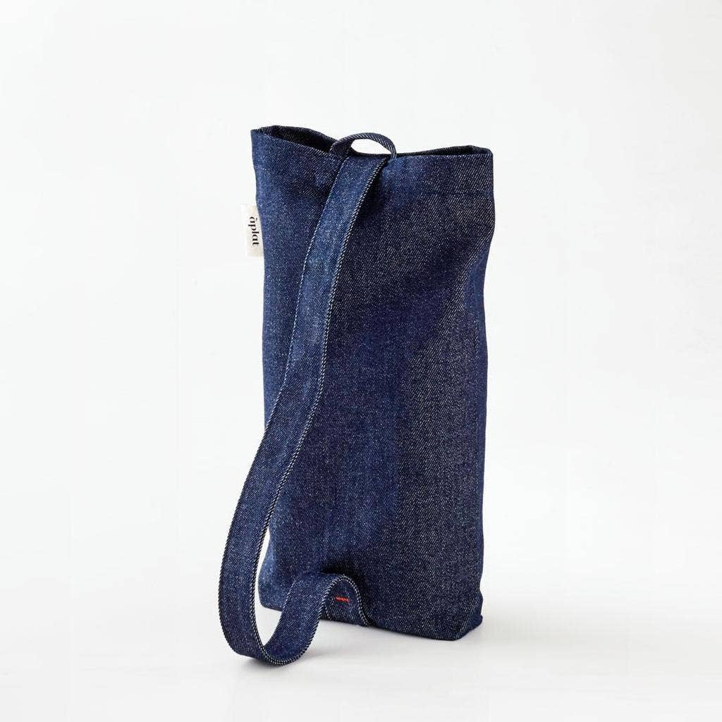 Aplat Inc - Wine Tote - Vertical Denim