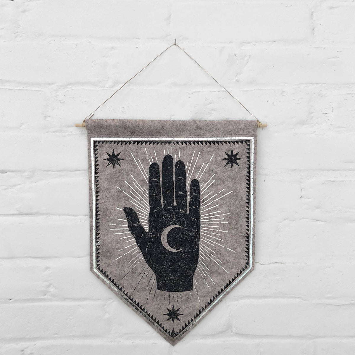 Moon Palm Banner - Grey Marle