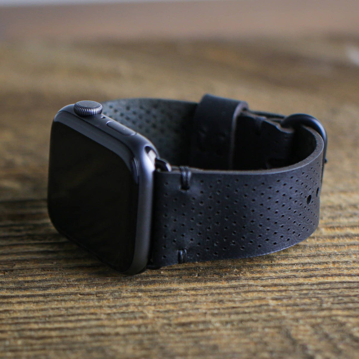 Apple Watch Band - Perforated Black Horween Leather