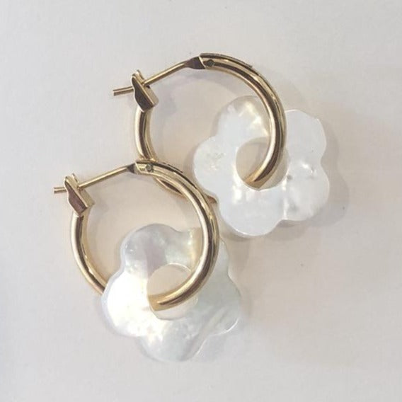 5-Petal Mother of Pearl Hoops