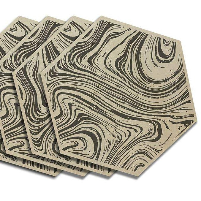 Marble Wood Hex Coasters - 4pcs Black