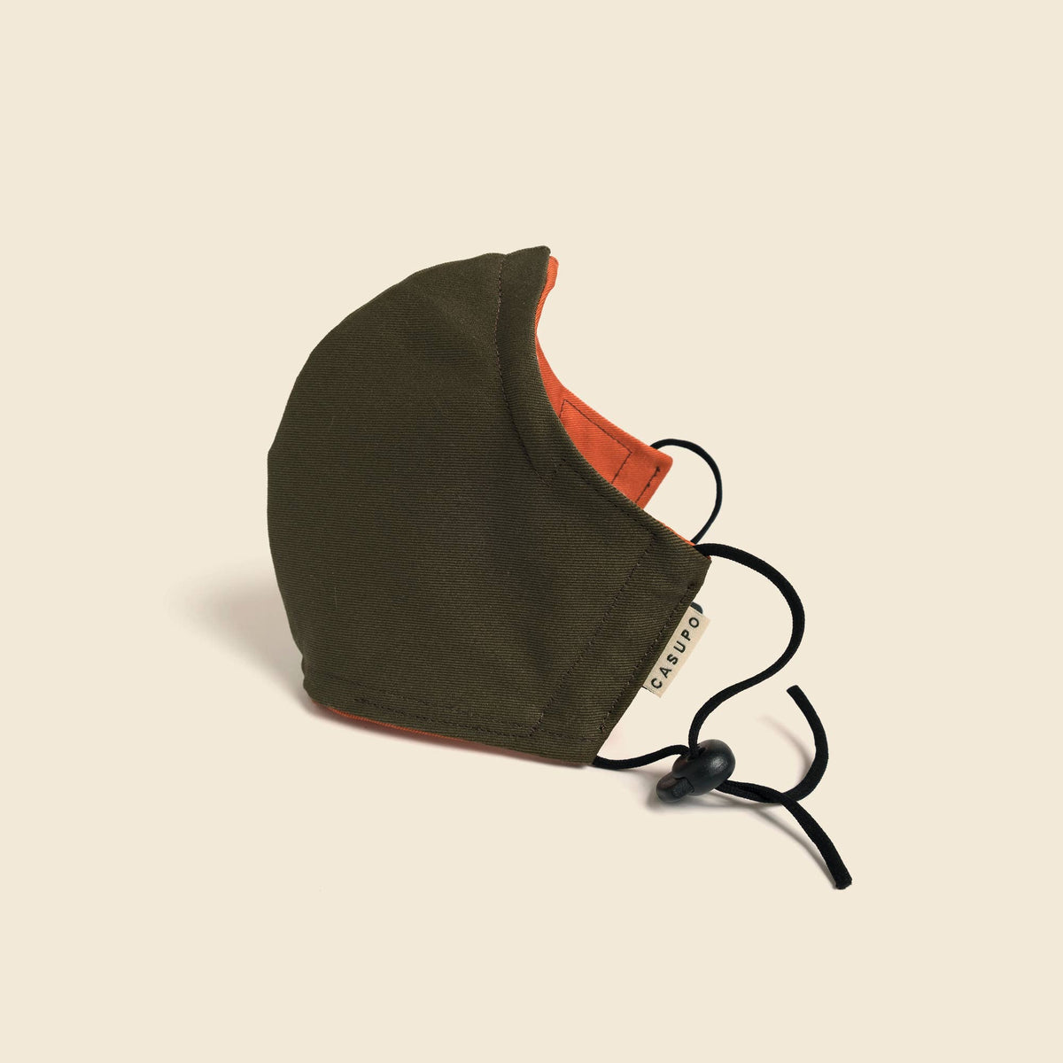 Olive/Orange Reversible Face Mask