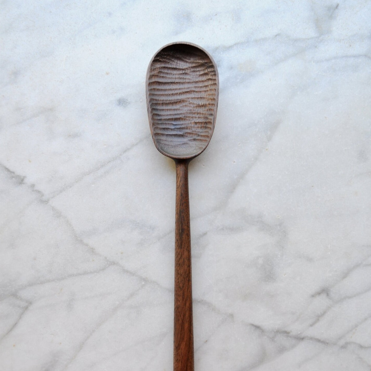 Long Walnut and Copper Spoon