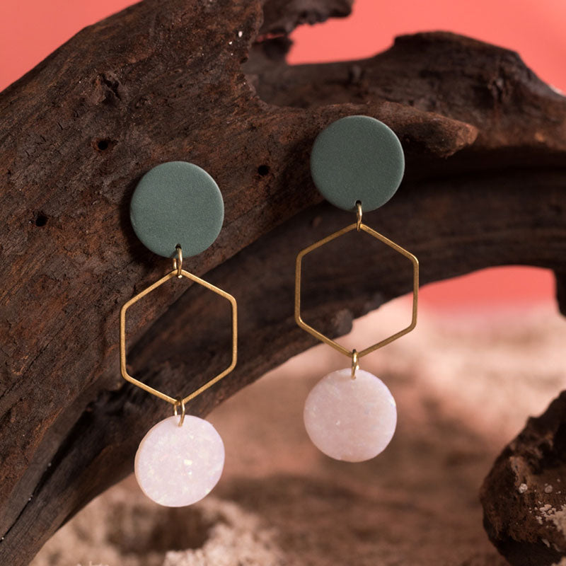 Magnolia Earrings in Emerald & Holographic Speckled