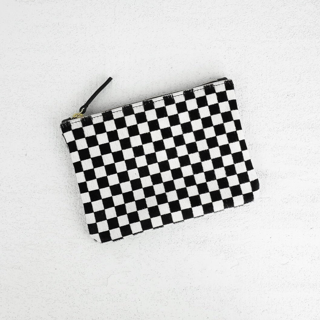 Checkered Cowhide Pouch