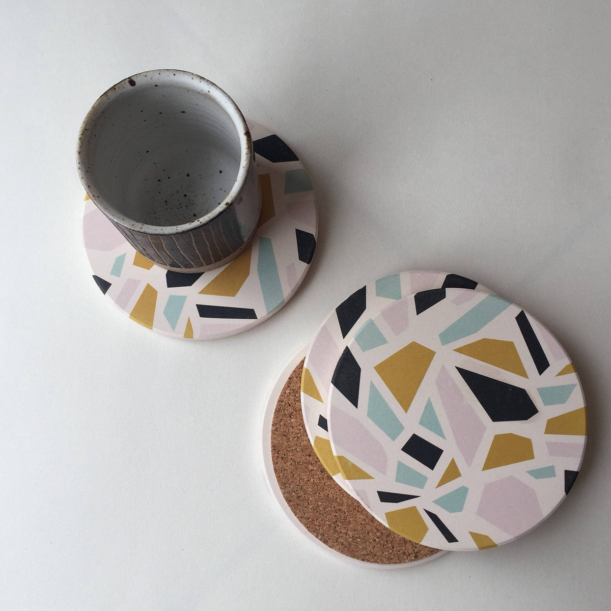 TERRAZZO Absorbent Stone Coasters set of 4