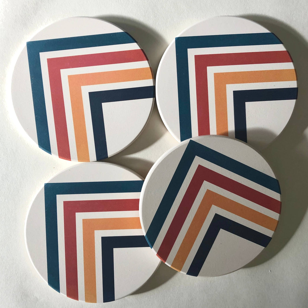 ANGLES Absorbent Stone Coasters set of 4
