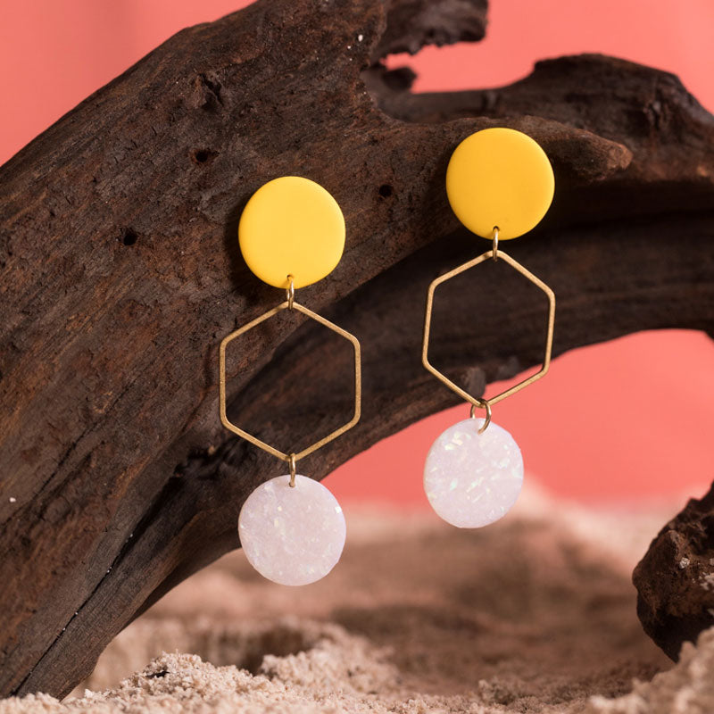 Magnolia Earrings in Yellow and Holographic Speckled