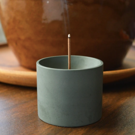 Round Concrete Japanese Incense Burner