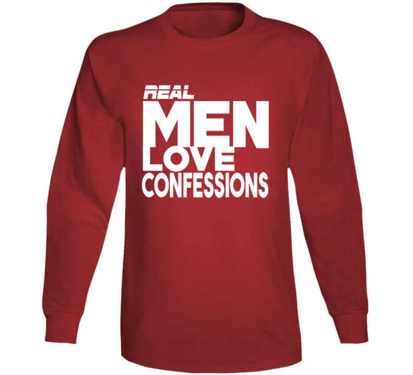 Real Men Love Confessions t-shirt black for men red