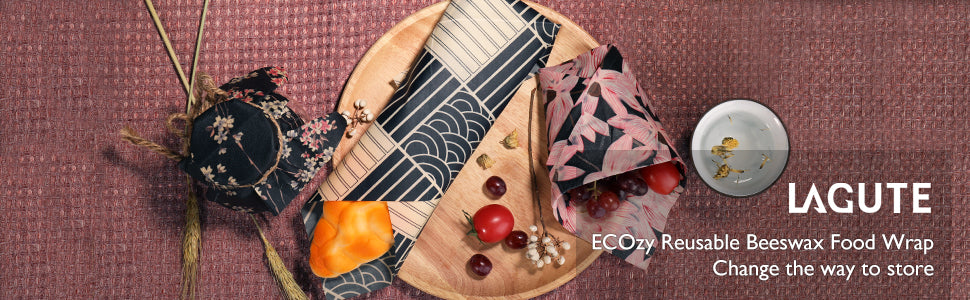 Lagute Reusable Beeswax Food Wrap, Eco-friendly & Organic Food Storage Wrappers