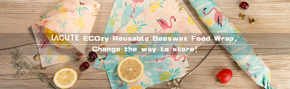 Lagute Reusable Beeswax Food Wrap, Eco-friendly & Organic Food Storage wrapper