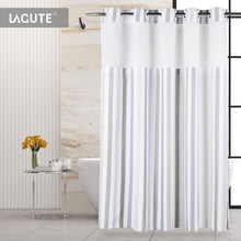 Lagute SnapHook Hookless Shower Curtain, Nordic Stripes