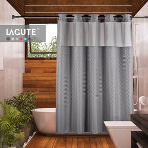 Lagute SnapHook TrueColor Hook Free Shower Curtain | Removable Liner | See Through Top | Machine Washable | Gray