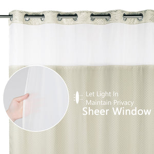 Lagute Snaphook TrueColor Hookless Shower Curtain, Beige