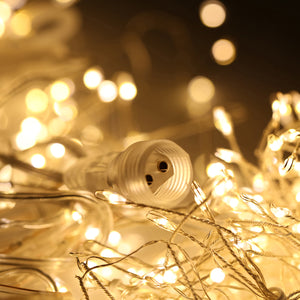 Starburst LED String Lights, Warm White | 25 ft Long | 300 Waterproof Mini LEDs | 12V | 8 Modes| Decorative Lights for Wedding, Party, Bedroom | Indoor, Outdoor Decor